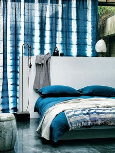 shibori tie dye ombre bedroom wallpaper fabric home décor design . Blue Rooms, White Bedroom, Velvet Bedroom, Tie Dye Curtains, Indigo Curtains, Patterned Curtains, White Curtains, Blue Nails, Yurts