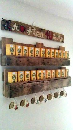 I used one pallet and made it in an hour with painting. Added hanging hooks for cups, just love it and use it at least twice a day. You can use it for coffee as well. Have fun!   #PalletShelf, #RecycledPallet
