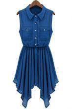 Royal Blue Sleeveless Asymmetric Pleated Hem Shirt Dress $34.19