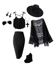 """Bohemian Goth"" by melanie-schreiner ❤ liked on Polyvore featuring Doublju, Killstar, Forever Link, Chicnova Fashion, David Yurman and Ray-Ban"