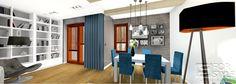 cegła w salonie, jadalnia, biblioteczka, lampa, lamy wiszące, belki, projektowanie wnętrz 4-style.pl