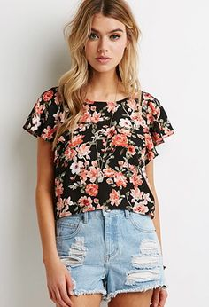 Watercolor Floral Flutter-Sleeve Top | Forever 21 - 2000135485
