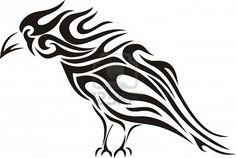 Tribal raven tattoo Stock Photo
