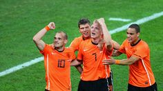 DURBAN, SOUTH AFRICA - JUNE 28: Dirk Kuyt of the Netherlands celebrates with Wesley Sneijder after he scored the second goal during the 2010 FIFA World Cup South Africa Round of Sixteen match between Netherlands and Slovakia at Durban Stadium on June 28, 2010 in Durban, South Africa. (Photo by Steve Haag/Getty Images)