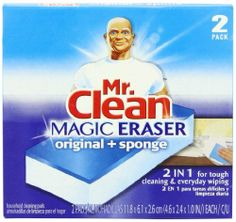Mr. Clean Magic Duo Eraser, 2-Count Boxes (Pack of 12) by Mr. Clean. Save 35 Off!. $32.04. Removes set-in dirt on stoves, refrigerators and other appliances. Cleans scuff marks and dirt from walls, floors and doors. Breaks up tough bathroom soap scum. Cleans ground in dirt on patio furniture. The Mr. Clean Magic Eraser is an innovative cleaning material that penetrates surface grooves where dirt and grime get trapped. It easily and thoroughly breaks up tough dirt, lifting it away from…