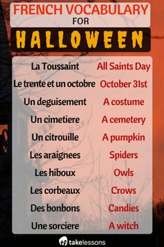 French Vocabulary for Halloween