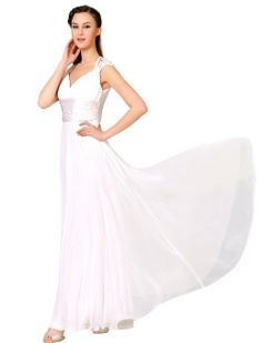 Amazon.com: Ever Pretty Chiffon Sexy V-neck Ruffles Empire Line Evening Dress 09672: Clothing