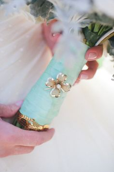 #Tiffany Blue Wedding ... Maybe more of a Tiffany blue. :)   [Bouquet Wrap ~ so pretty! Photography by Flory Photo, Event Planning, Styling &  Floral Design by Lovely Little Details]  www.egovolo.com