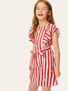 Girls Ruffle Armhole Striped Flamingo Print Belted Dress #Sponsored , #Affiliate, #Armhole#Striped#Girls