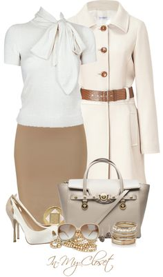 """Classic Neutrals"" by in-my-closet on Polyvore. I love the shoes and the skirt! not so much the jacket"