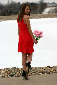 bow heels, red dress, Valentine's date night look