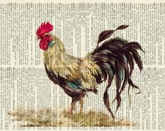 rooster painting  printed on old page from dictionary by FauxKiss, $12.00