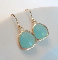 Mint aqua chalcedony aquamarine glass earrings, $20.00