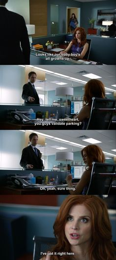 Suits - Donna and Mike #Season4 Hehe Mike mouthing off to mom- he should've known this was coming
