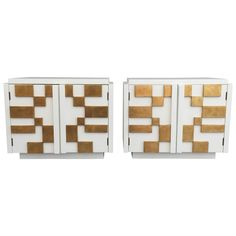 Lane Brutalist Gold Leafed Nightstands in the Style of Paul Evans