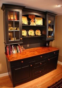 Hutch redo paint black or preferred color, add buffet or find dresser wood finish top