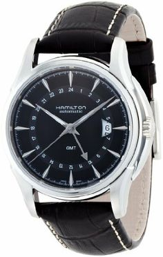 Hamilton Men's H32585531 Jazzmaster Traveler Black GMT Dial Watch Hamilton. $686.99. Pin buckle. Black dial. Luminous hands; Round case. Water-resistant to 330 feet (100 M)