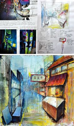 This Edexcel GCSE Art Coursework project explores architectural spaces, daily life and routine. It was completed by Samantha Li and was awarded full marks. A Level Art Sketchbook, Sketchbook Layout, Sketchbook Ideas, Roy Lichtenstein, Gravity Falls, Kunst Portfolio, Pop Art, Art Nouveau, Art Projects For Adults