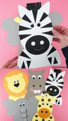 These adorable safari crafts are super easy for preschoolers, kindergartners and kids of all ages to make. Learn how to make a zebra, lion, giraffe, hippopotamus and elephant craft with our paper templates. Safari Animal Crafts, Giraffe Crafts, Fox Crafts, Animal Crafts For Kids, Summer Crafts For Kids, Paper Crafts For Kids, Toddler Crafts, Safari Animals, Preschool Elephant Crafts