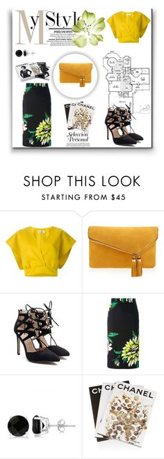 """Pencil skirt & yellow top"" by marialibra ❤ liked on Polyvore featuring Jil Sander, Henri Bendel, MARCOBOLOGNA, Allurez, Assouline Publishing and Chanel"