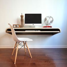 Floating computer desk - so cool! ,For the plan to make click now; http://www.vickswoodworkingplans.com/