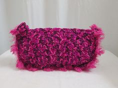 Variegated Shell Stitch Clutch with Novelty Fur by dpearldavis, $70.00