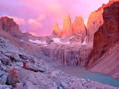 Sunrise over Towers of Paine Patagonia, Chile