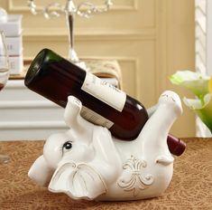 Фарфор лежа слон детские статуэтка красный бутылки вина стойки декоративные керамика для бара и посуда ремесло украшение аксессуары(China (Mainland))