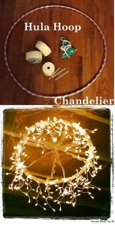 hula hoop chandelier - great idea! Just a hula hoop + fairy lights