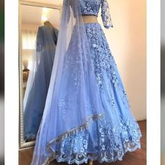 Buy Elegant Blue Two Pieces Lace Appliques Scoop Sleeve Long Cheap Prom Dresses on sale.Shop prom or formal dresses from Promdress. Find all of the latest styles and brands in Junior& prom and formal dresses at SisaStore Indian Gowns Dresses, Indian Fashion Dresses, Dress Indian Style, Indian Designer Outfits, Pakistani Dresses, Designer Dresses, Indian Wear, Indian Lehenga, Lehenga Choli