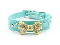 Lesypet Dog Leather Collar with Velvet Rhinestone Pet Collar For Dog Cat Blue Medium -- Check this awesome product by going to the link at the image.(This is an Amazon affiliate link and I receive a commission for the sales)