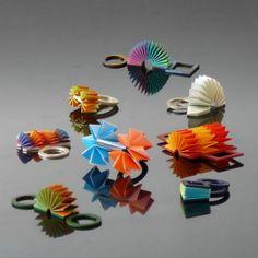 ANDRZEJ BOSS-PL #paper #art #origami-Rings, silver, copper, brass, aluminum, titanium, paper, 2005