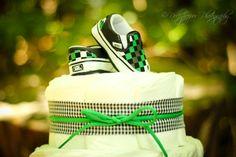 Boys Diaper Cake....Vans Shoes....Skateboarding Baby Shower...Copyright Nellypepper Photography