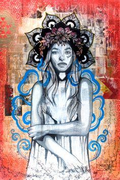 Munay by Kathrina rupit , kinmx, Love , octopus girl . blue hair, ink , spray paint , collage , street art , stencil ,female, mixed media, pop surrealism, urban art