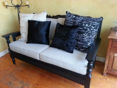 Remodelled jacobean sofa old couches/porch dreams in 2019 мягкая мебель, ме 70s Furniture, Refurbished Furniture, Repurposed Furniture, Furniture Projects, Vintage Furniture, Couch Makeover, Furniture Makeover, Couch Redo, Wooden Couch
