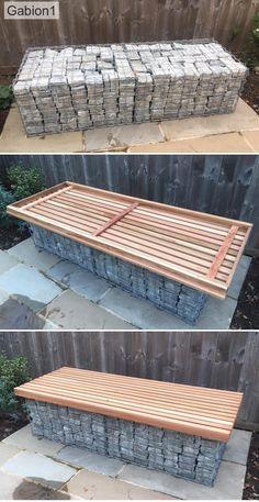 Easy to Install kitset gabion seats Outdoor Baths, Outdoor Rooms, Outdoor Decor, Contemporary Garden Design, Small Garden Design, Modern Design, Garden Seating, Outdoor Seating, Backyard Patio Designs