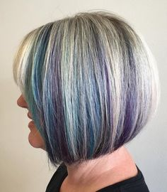 Silver Bob with Blue and Purple Peek-a-Boos