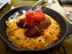 Lamb Meatballs with creamy goat cheese polenta and oven dried tomato with Rosemary at the Rebel House, Boca Raton, Florida by dfgideon, via Flickr