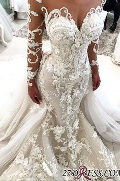 2019 Detachable Train Long Sleeve Scoop Mermaid Wedding Dresses with Tulle Appliques € - IdealRobe.fr - 2019 Detachable Train Long Sleeve Scoop Mermaid Wedding Dresses with Tulle Appliques € IRP - Wedding Dresses For Sale, Wedding Dress Styles, Bridal Dresses, Wedding Gowns, Bridesmaid Dresses, Prom Dresses, Lace Wedding, Wedding Ceremony, Wedding Dresses With Bling