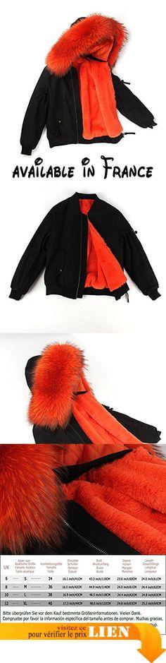 B076KRL78S : S.ROMZA Veste Femme - doublure en Fausse fourrure - Manteau à capuche Collier de fourrure détachable (S/34 Noir).