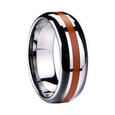 Orange resin inlaid Tungsten ring