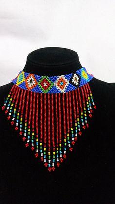 ON SALE Zulu beaded Choker necklace, Beaded Fringe necklace, African choker necklace, Beaded Tassel African Beads Necklace, Beaded Tassel Necklace, Fringe Necklace, Tassel Jewelry, African Jewelry, Bead Jewellery, Beaded Earrings, Beaded Bracelets, Boho Necklace