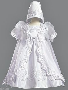 New Baby Toddler Girls White Christening, Baptism Satin Gown Dress Organza Cape #Lito #Dress