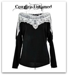 COWGIRL GYPSY TOP White Lace Boat Neck Black Long Sleeve Western Top
