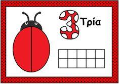 Ladybug Playdough Mat- Numbers with Ten Frames (in greek) Ten Frames, Maths, Ladybug, Numbers, Kindergarten, Preschool Ideas, Count, Greek, Lady Bug