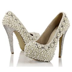 Make to order hand sewing pearl shoes super high by Creativesugar, $249.00