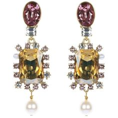 Oscar de la Renta Bold Crystal Pearl Drop Multi Stone Earrings ($430) ❤ liked on Polyvore featuring jewelry, earrings, art deco crystal earrings, oscar de la renta earrings, handcrafted earrings, long clip earrings and crystal jewelry