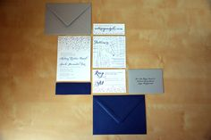 Type A Invitations - Navy and Silver Letterpress Invitation Suite #weddinginvitation #navy #silver #letterpressed #BaltimoreWedding