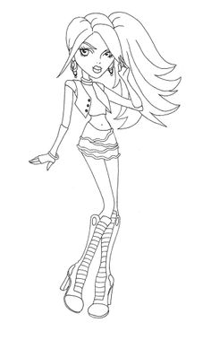 Hairs Style Spectra Vondergeist Coloring Page Monster High