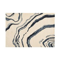 "Citak Area Rugs Hudson Collection // Watermark // Ivory/Blue (5'3"" x 7'7"")"